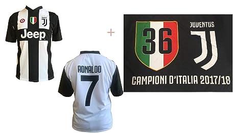 Camiseta Juventus Cristiano Ronaldo 7 – CR7 – Replica Económica autorizzata Juventus + Bandera Oficial Evento