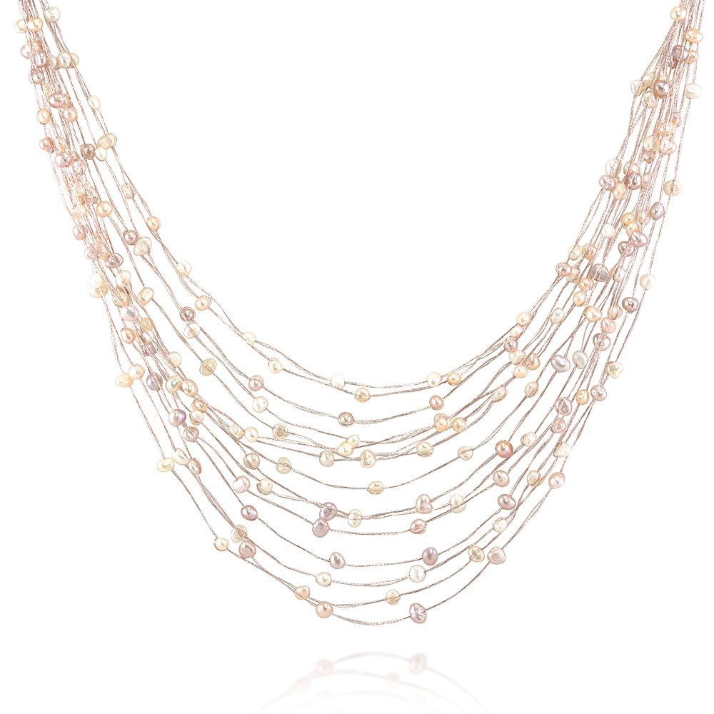 Silk Thread and Pink Cultured Freshwater Pearl Multi Strand Cluster Necklace, 17-19 inches by Chuvora