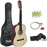 "Smartxchoices 38"" Kids Natural Acoustic Guitar Bundle Kit for Starter Beginner Music Lovers, 6-String Folk Guitar with Gig Ba"