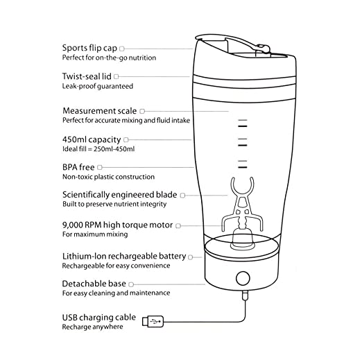 JTT 450 mlstainless eléctrica de acero inoxidable coctelera batidora botella Vortex Mixer Mezclador, USB Batería, sin BPA, 100% a prueba de fugas garantía, ...