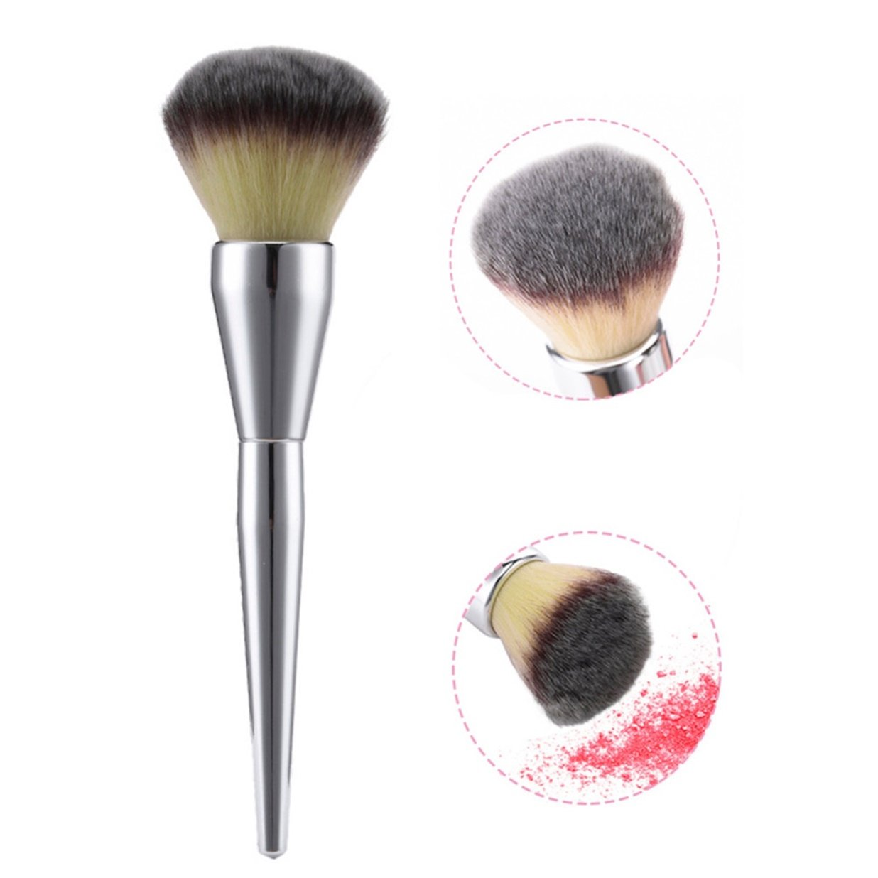 1 Piece Large Silver Handle Makeup Brush Set Powder Cosmetic Make Up Tools Professional Natural Beauty Palettes Eyeshadow Nice Popular Eyes Face Colorful Rainbow Hair Highlights Glitter Travel Kit