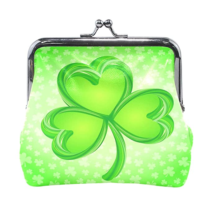62ffd3db8ac4 Lucky Clover Pouch Small Wallet - Kiss-lock Change Coin Purse ...