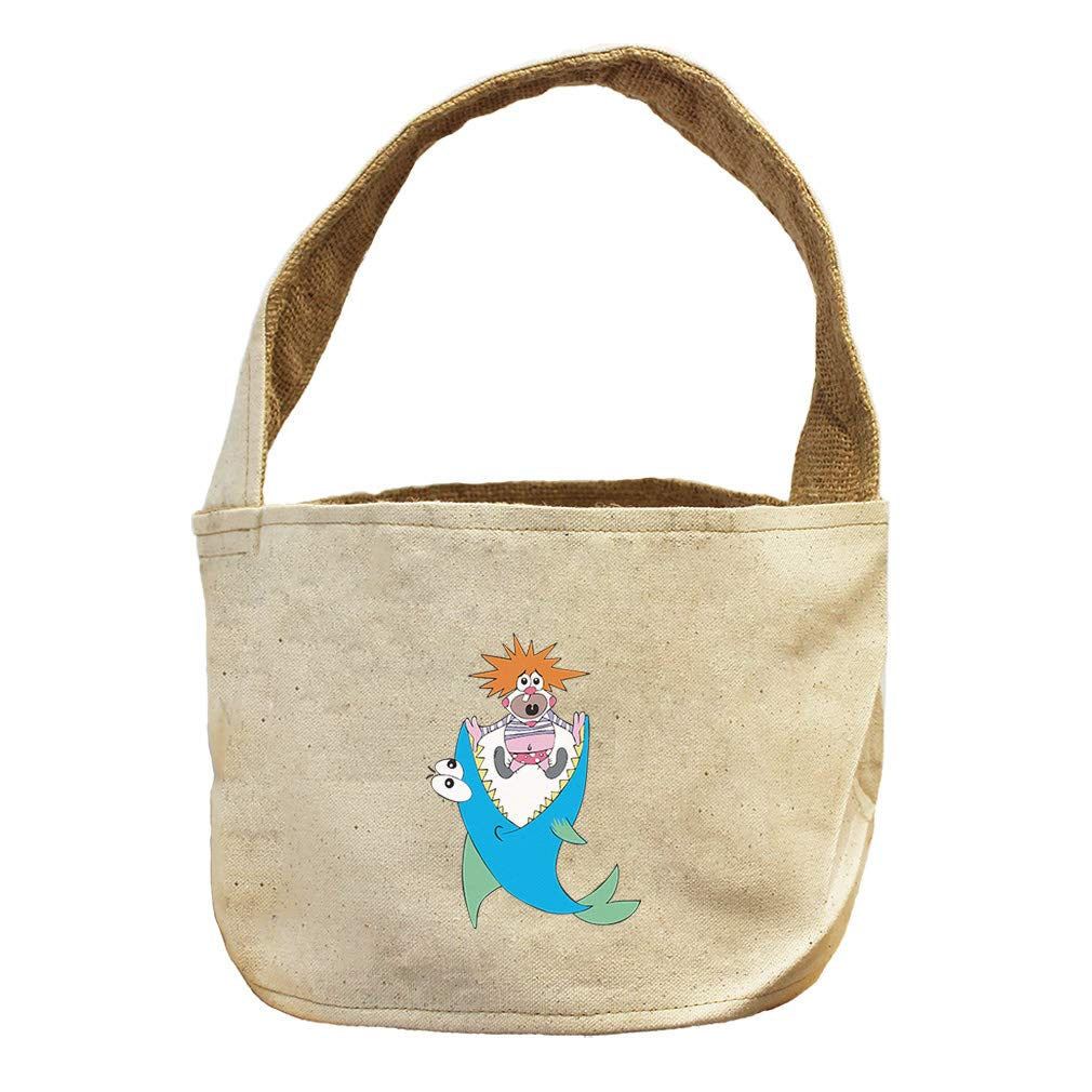 Style in Print Shark and Clown Animals Canvas and Burlap Storage Basket