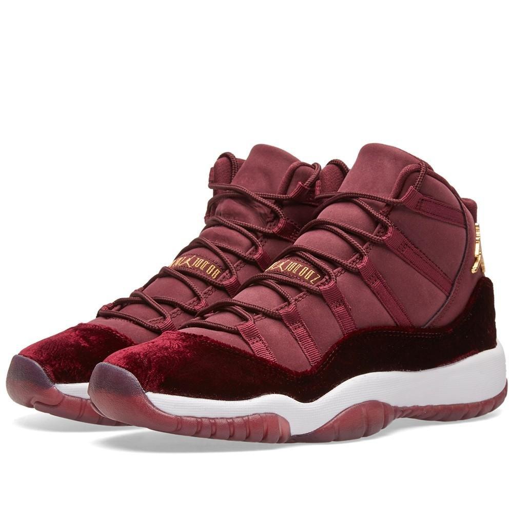 Nike Air Jordan 11 Retro GG GS Heiress Red Velvet Night Maroon 852625-650 US Size 3.5Y by NIKE