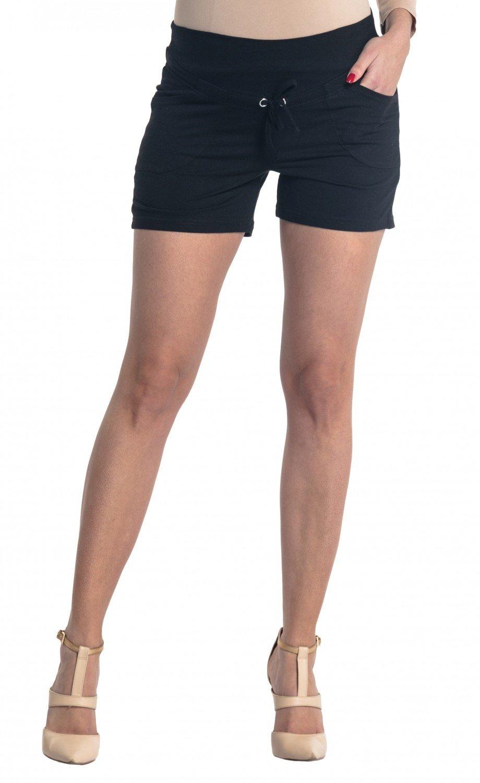 Zeta Ville - Womens Maternity Short Trousers Pockets Pants - Waistband - 259c (Black, US 2, S)