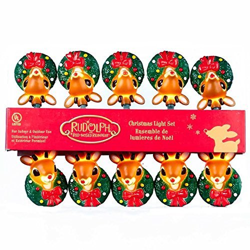 Christmas Reindeer Wreath (Set of 10 Rudolph the Red Nose Reindeer Novelty Christmas Lights - Green Wire)