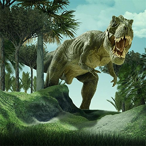 Laeacco 8x8ft Jurassic Photography Background Dinosaur in Forest Ancient Times Dinosaurs Trees Grassland Hills Blue Sky Scenic Photo -