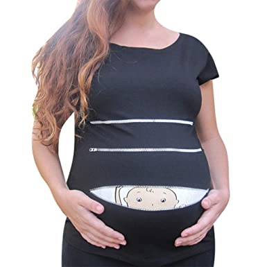 33b004638ab95 Cute Plus Size Maternity Pregnancy Baby Peeking T Shirt Funny Women