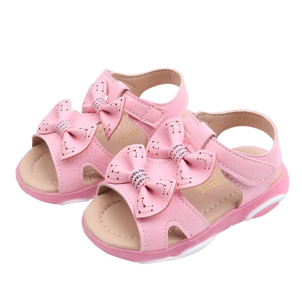 Kiminana Fashion Children's Girls Bow Cute Soft Bottom Hollow Beach Sandals Bright Shoes Hot Pink