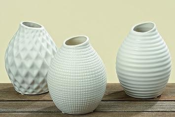 Vase Porzellan Weiss 3er Set Hohe 13 Cm Blumenvase Amazon De
