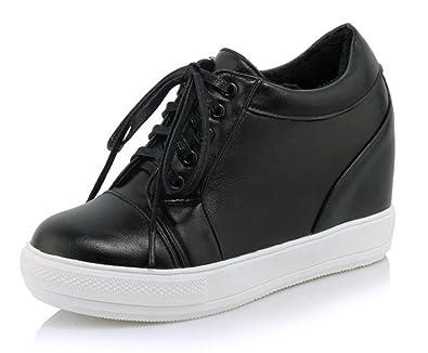 Aisun Damen Kunstleder Durchgängig Plateau Erhöht Keilabsatz Schnürsenkel High Top Sneakers Schwarz 40 EU 0BmFqf