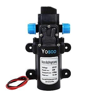 Bomba de agua de 60 W, 12 V, bomba de agua a presión, bomba de membrana automática, alta presión 5 L/min, 9,9 x 16,7 cm