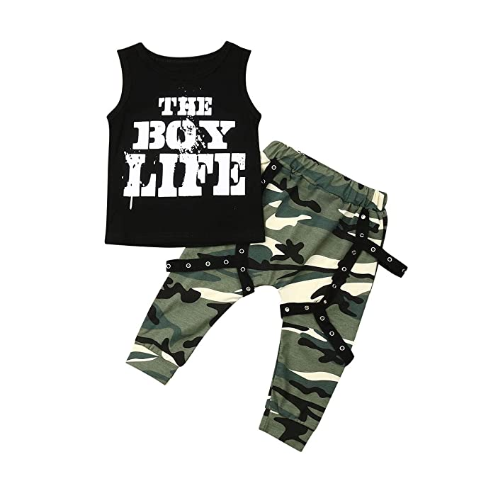 09603cc968bb2 Amazon.com: Toddler Baby Boy Camo Outfits Sleeveless Letters Tank ...
