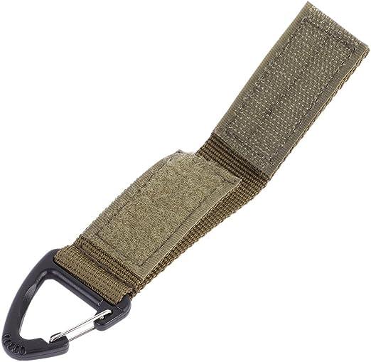 zdmathe EDC militare in nylon con chiusura in velcro e clip portachiavi molle fettuccia fibbia in metallo appeso moschettone portachiavi titolare