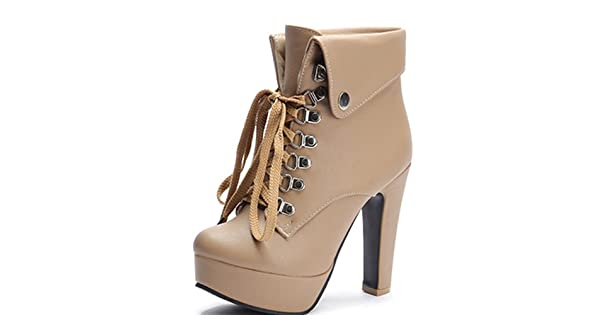 7a3c19a2271 ... to Cambodia from the USA- Fado168.comleanna Women s Winter Party  Fashion Waterproof Platform Chunky High Heel Lace up Zipper Closure Apricot  Ankle ...