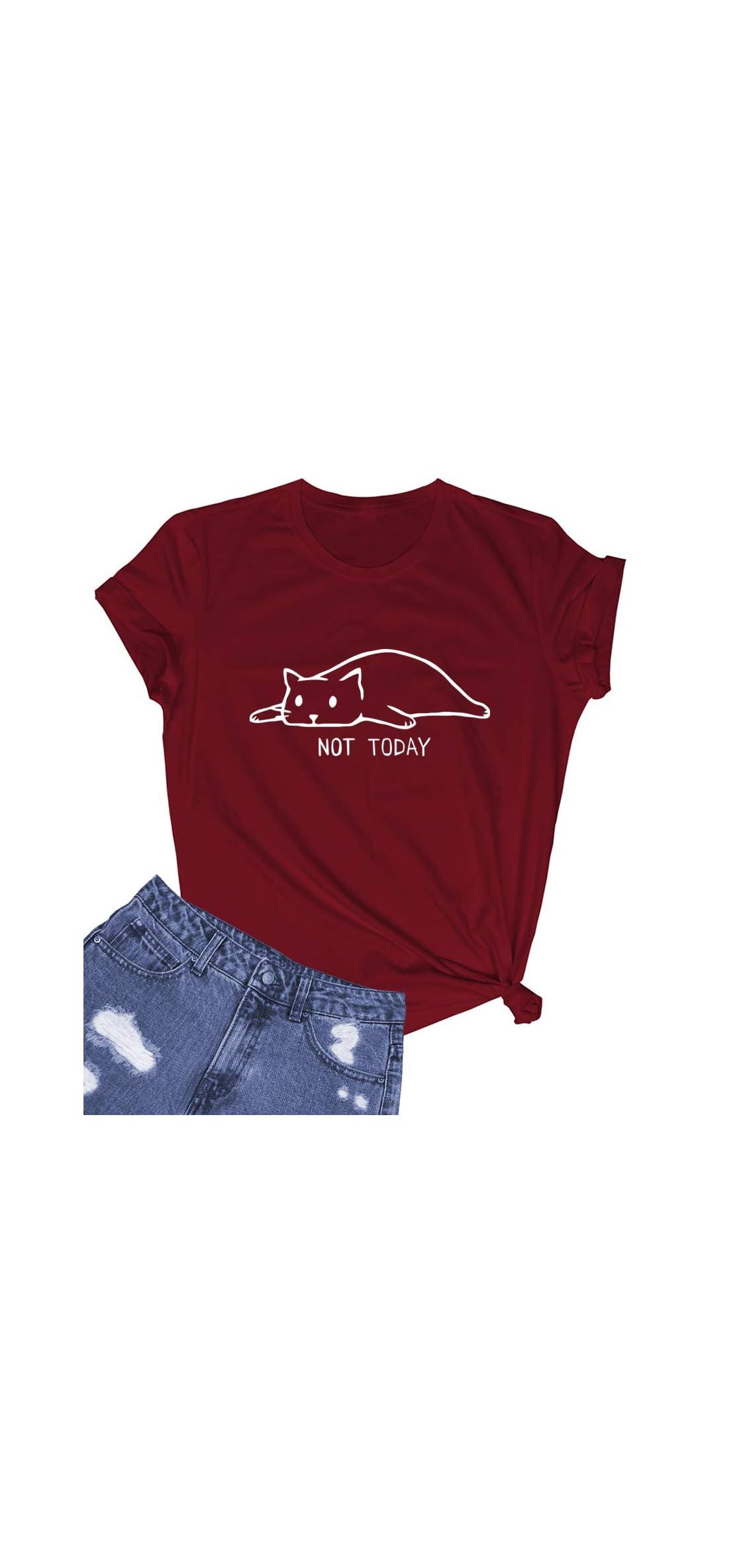 Women Not Today Cat Cute Graphic Tee Shirtsgift Ideas