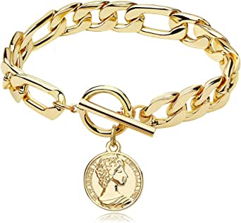 FAMARINE Charm Bracelets for Women 4MM, Gold Chain Cuban Link Mens Bracelet for Teen Girls Friendship Bracelets Gift Toggle Clasp, 18K Gold