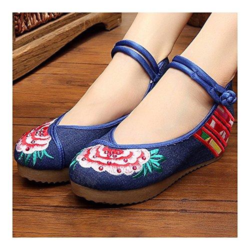 broderie Chaussures chaussures Chinoise ballerines femmes Floraux les Les plat multicolore belles Les pour boedee 8OqAd