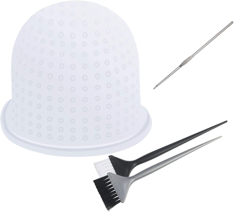 Gorro Mecha Silicona CHIFOOM - Tapones para Teñir el Cabello con Highlight Caps para Colorear, con 2 Cepillos de Pelo para Barbería, Modelado de Permanente para ordenar
