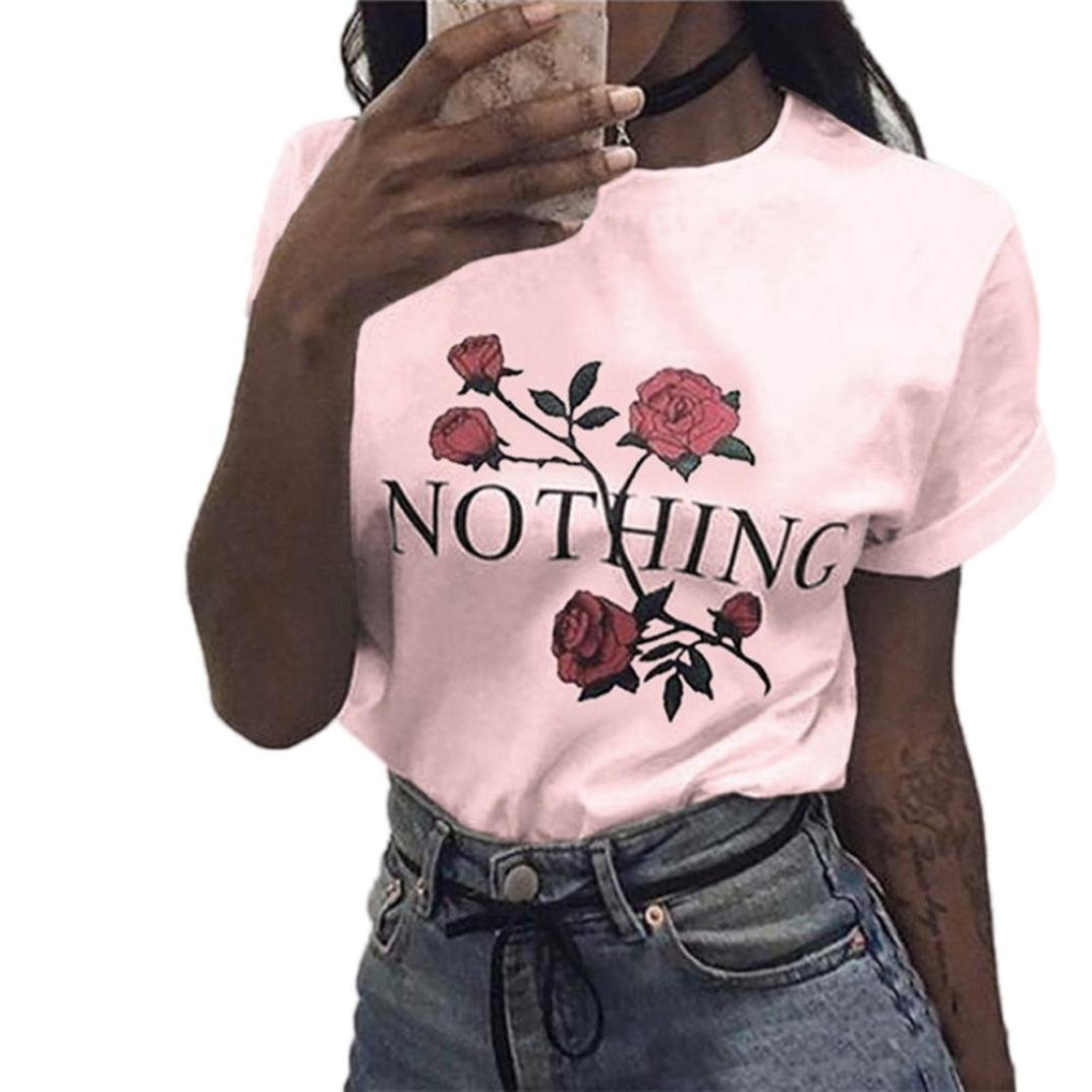 2018 Womens Nothing T Shirt Rose Tops Printing Summer Loose Blouse Short-Sleeved