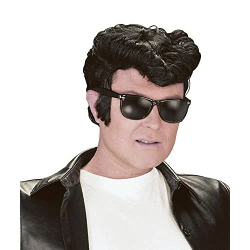 NEW BLACK GREASE WIG ELVIS STYLE WITH QUIFF (peluca)