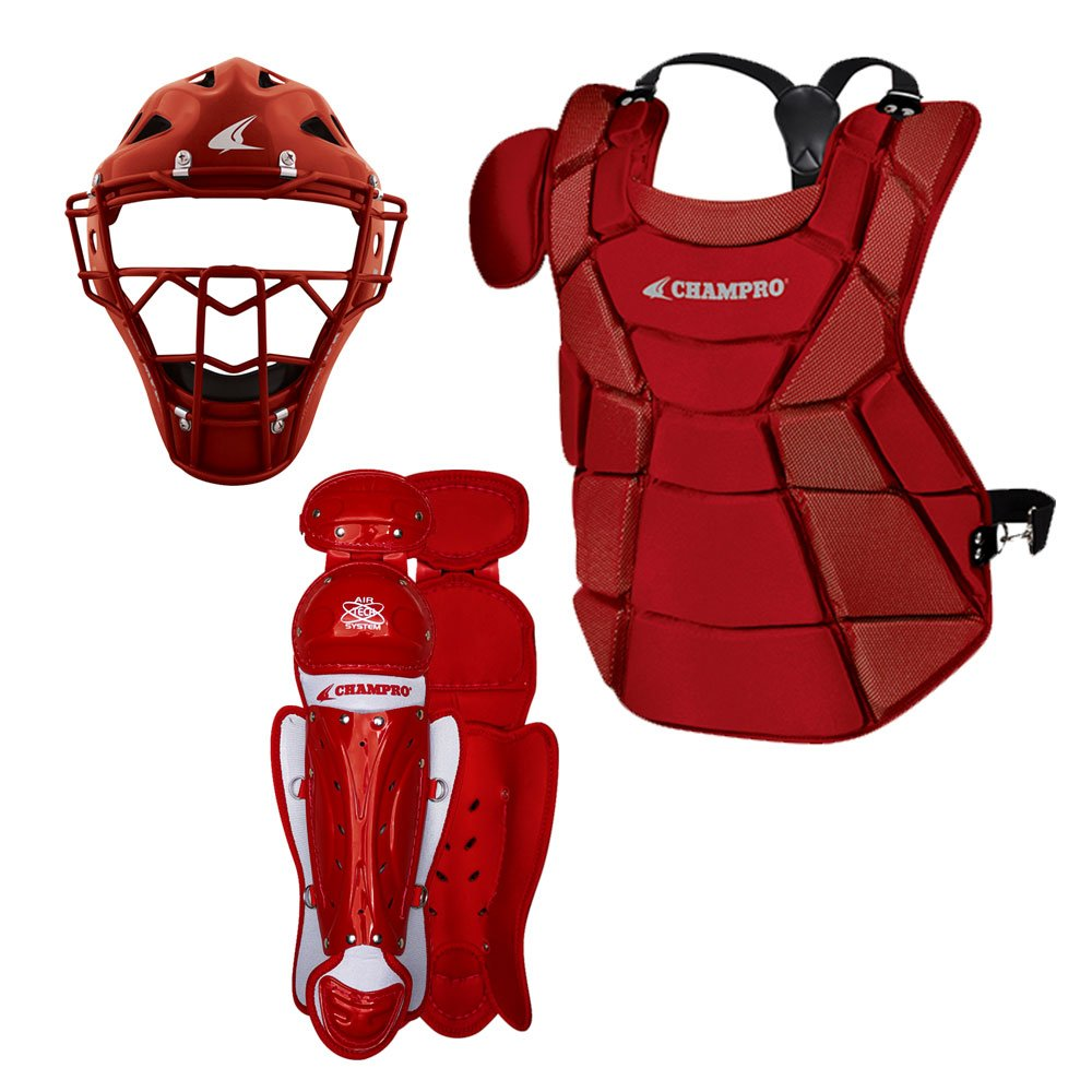 Champro Triple-Play Youth Catcher's Set, Scarlet, 6 1/2''-7'' by CHAMPRO