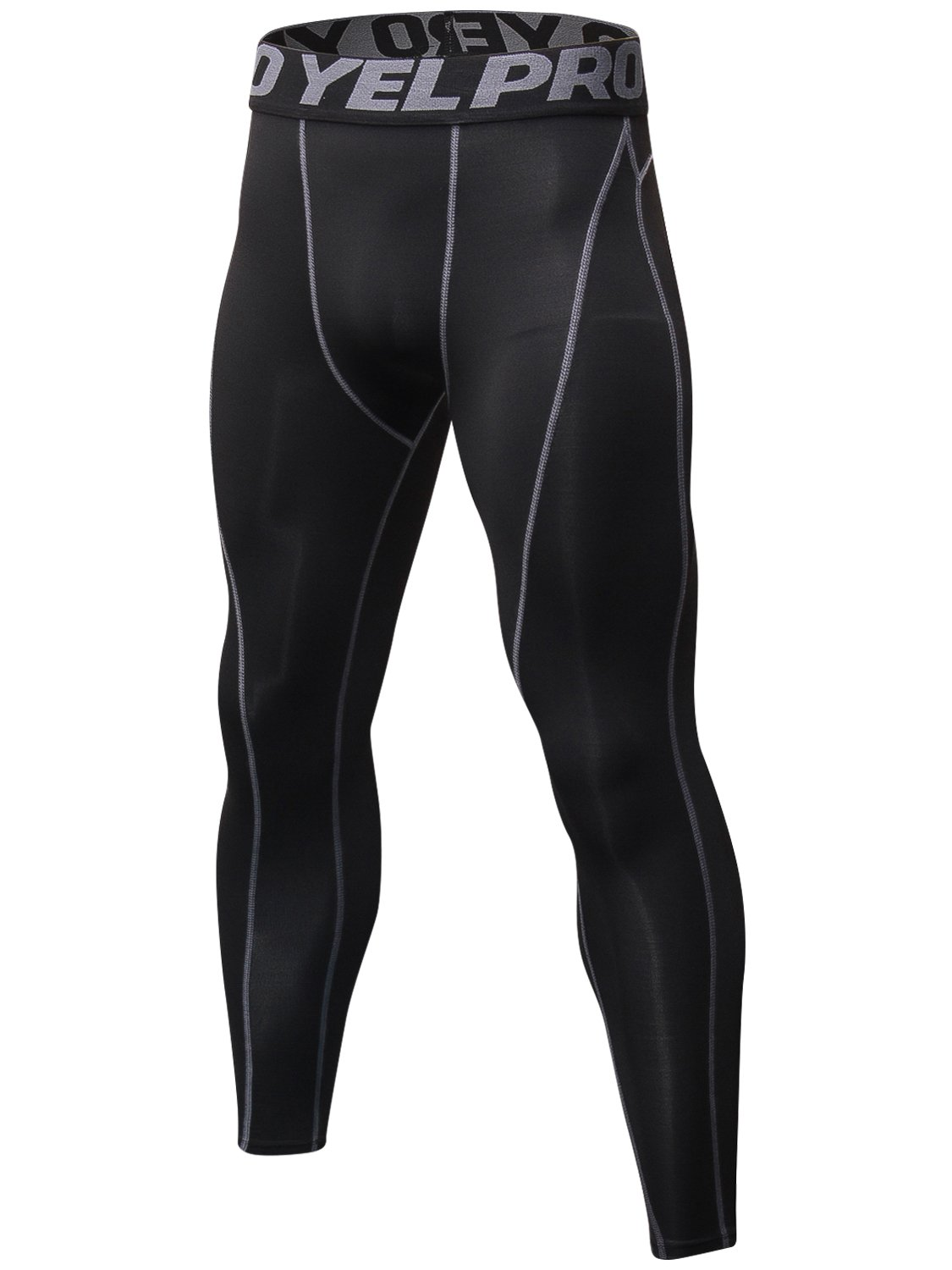Lavento Men's Compression Pants Baselayer Cool Dry Running Ankle Leggings Active Tights (1 Pack-1060 Black/Gray,2X-Large)