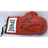 """$199 » Boxing Greats Autographed Red Everlast Boxing Glove With 3 Total Signatures Including Sugar Ray Leonard, Thomas""""Hitman"""" Hearns & Roberto…"""