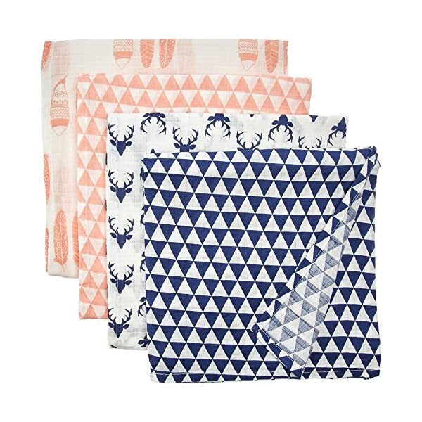 Bacati – Tribal/Aztec Cotton Muslin Fabric (Set of 4 Swaddling Blankets, Olivia Tribal Coral/Navy)