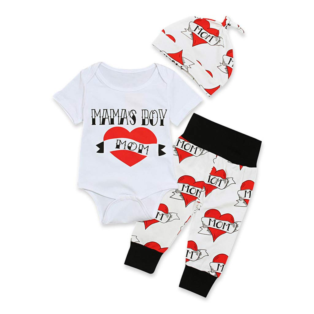 Lucoo Infant Baby Boys Girls Short Sleeve Letter Printed Romper Tops Pants Hat Set Valentines Day Outfits Clothes