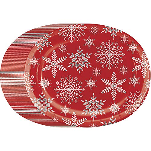 Christmas Snowflake Scatter Sturdy Oval Platter Disposable Paper Plates