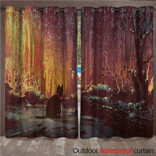 - Fantasy Outdoor Curtain Surreal Lost Black Cat Deep Dark in Forest with Mystic Picture Artwork PrintW108 x L96 Orange Brown