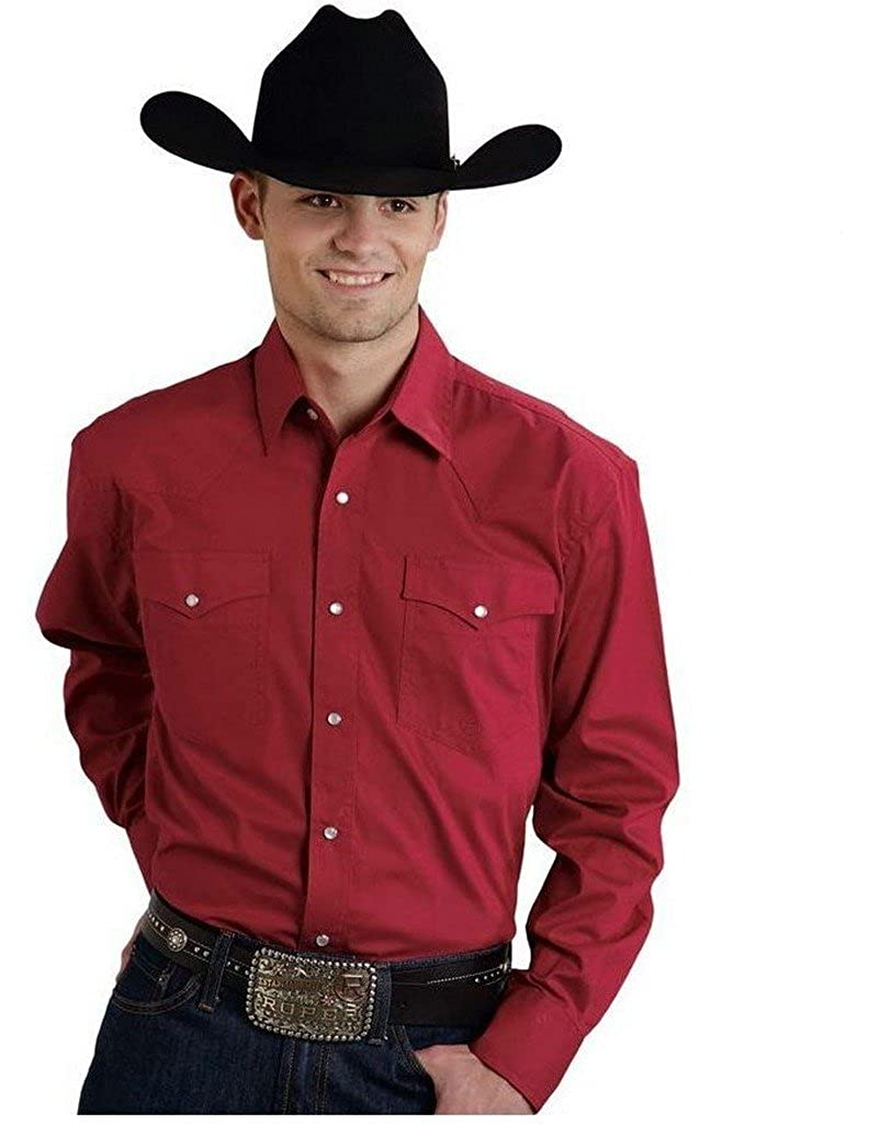Red Amarillo Collection Badland Blues Roper Solid Poplin