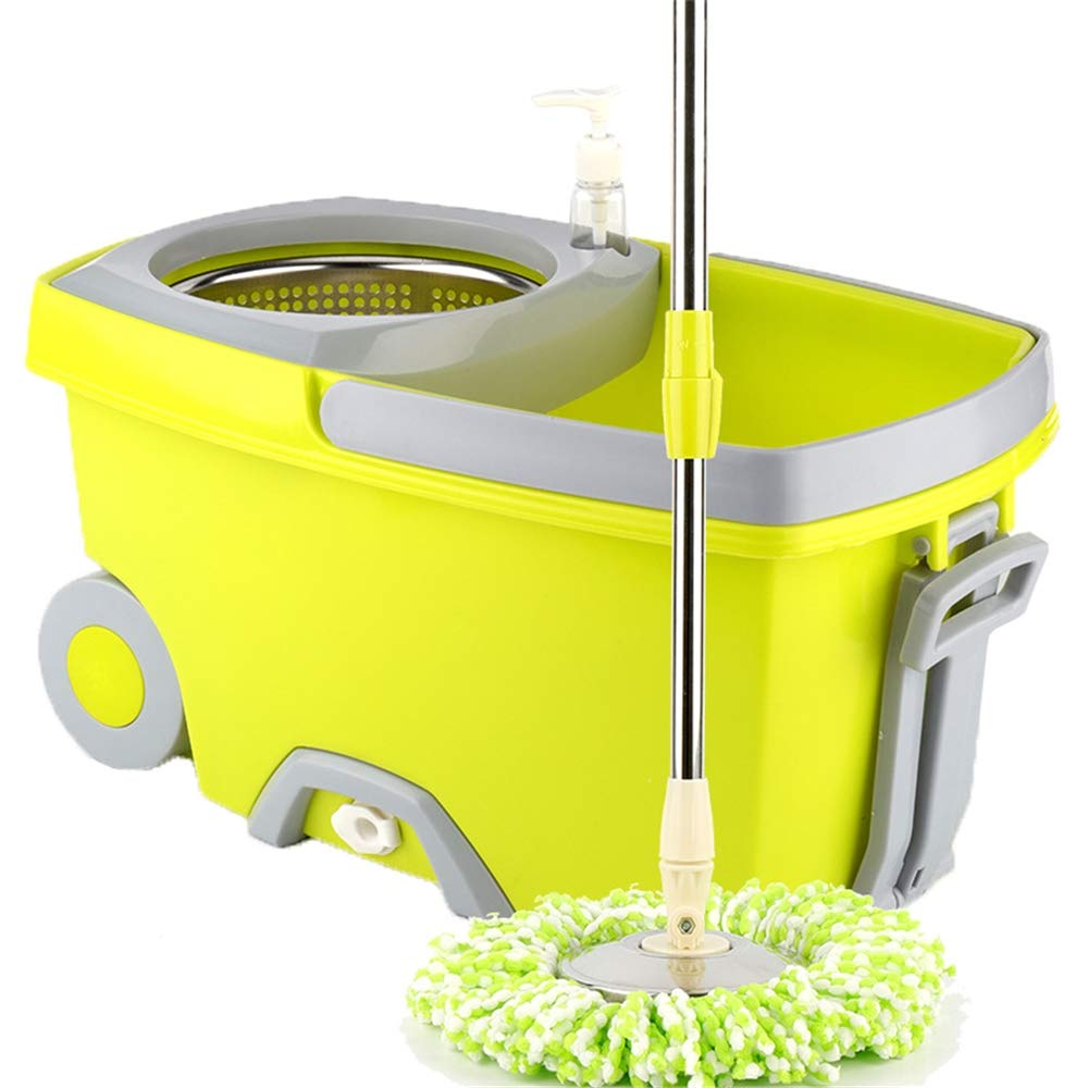 Linbing123 Spin Mop Bucket with Wringer On Wheels, Hardwood Floor Cleaning System, with 2 Microfiber Mop Refills, Rotating Double Drive mop