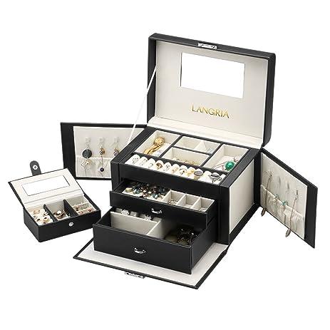 Amazoncom LANGRIA Black Jewelry Box Lockable Jewelry Display