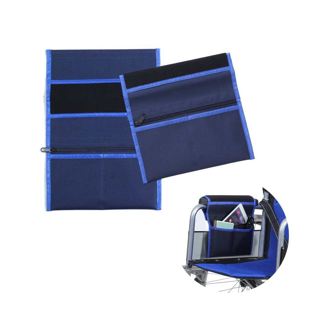 Wheelchair Bag Caddy Arm Pads Carry Bag Pouch Armrest Side Organizer Storage Cover - Fits Most Bed Rail, Scooters, Walker, Power & Manual Electric Wheelchair (Blue-2pcs)