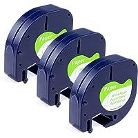 Aken Compatible Dymo LetraTag Ruban, 3x Cassette Ruban Blanc 12mm x 4m, Dymo LetraTag Ruban Autocollant 91200 S0721510 Pour Imprimante d'étiquettes Dymo