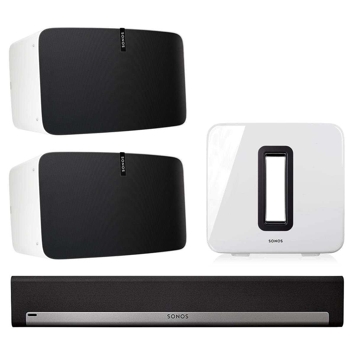 Sonos 5.1 Home Theater System with PLAY:5 (Pair), PLAYBAR, and SUB (White)