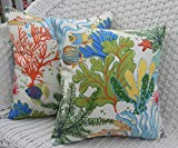 Set of 2 - Indoor / Outdoor 20'' Square Decorative Throw / Toss Pillows - Splish Splash Tropical Fish / Coral Reef