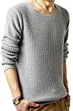 Shining4U Fashion Men's Loose Fit Long Sleeve Solid Crewneck Pullover Sweater Light GreyXX-Small