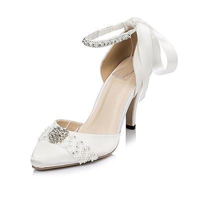 63d869067fa5 Kevin Fashion JYG060 Ladies Ribbon Ankle Strap White Satin Bridal Wedding  Party Evening Prom Shoes 3