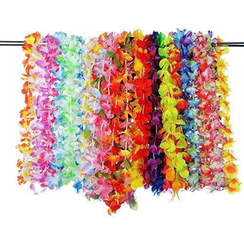 (Artificial Tropical Hawaiian Flowers Simulation Colorful Silk Hawaiian Luau Leis Flower Garlands Wedding Party Decor 36 Pcs)