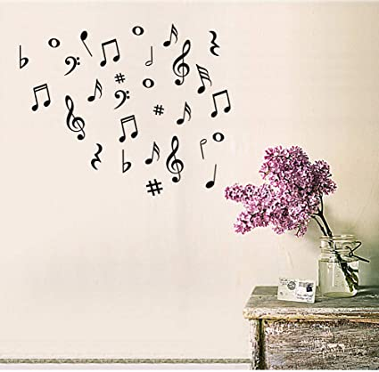 b17e989137 Amazon.com: Fymural Musical Note Wall Decals Music Sign Letter Wall Stickers  Quote Removable Vinyl for Kid Baby Nursery Classroom DIY Decoration Home  Decor ...