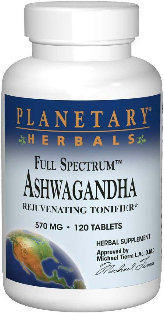 Planetary Herbals Ashwagandha Full Spectrum 570 mg, Rejuvenating Tonifier,120 Tablets: Health & Personal Care