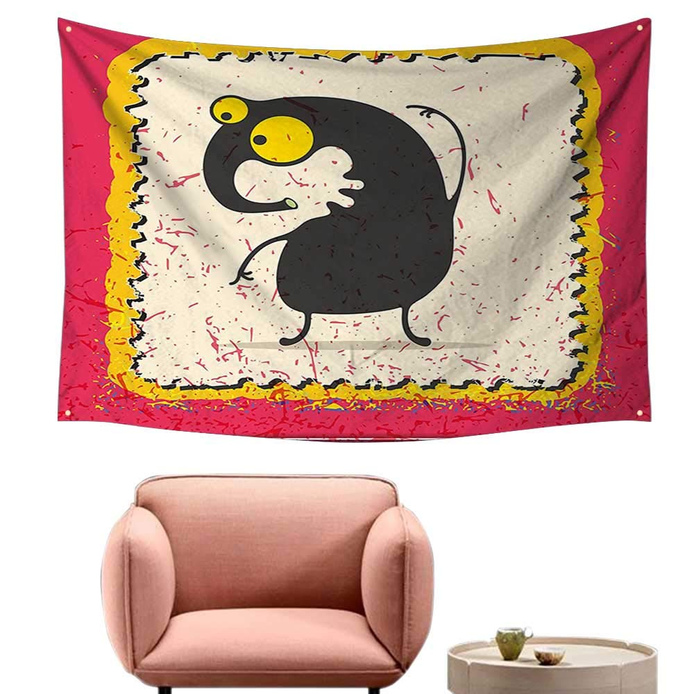 alsohome Pattern Tapestry Tapestry for Girls Look at Mouse Hunter Kitty Humor Kids Graphic Marigold Grey 93X70