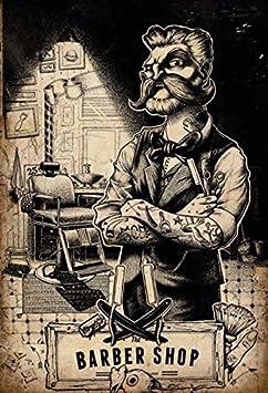 Schatzmix Barber Shop friser Tattoo stuhl blechschild: Amazon.es ...