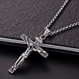 Men Chain Jewelry Gifts Vintage Cross Piece Pendant & Necklace Gold Color Stainless Steel