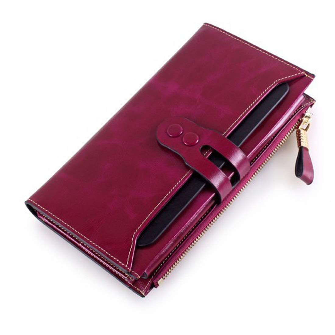 Professional Bag Long Wallet Unisex Zipper Wallet Fashion Large Capacity Folding Wallet Leather Cowhide Multicolor Available Select. Outdoor Travel Essentials (color   Red)