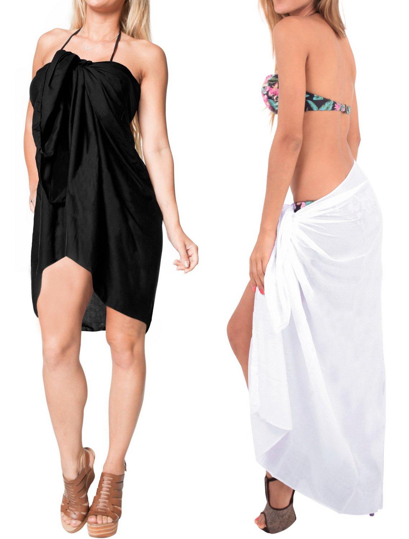 カバーアップ水着ビーチウェアPack of 2 Bathing Suit SarongソリッドレーヨンPlainラップ B01N6XXMAF 3L ブラックホワイト