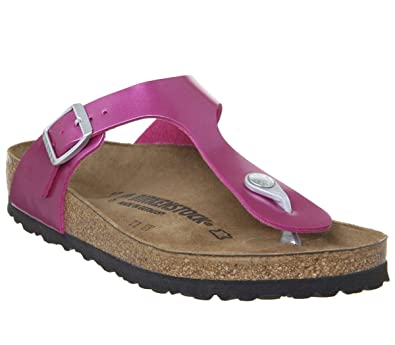 238d720a4b55 Birkenstock Womens Gizeh Buckle Metallic Toe Post Birko-Flor Sandals - Electric  Metallic Magenta -